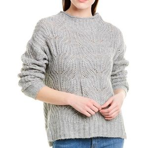 J . CREW Pointelle Knit Cable Mock Neck Sweater M